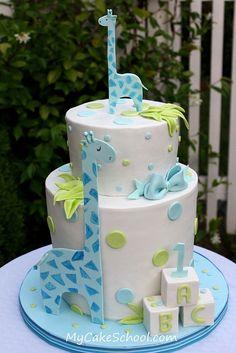 Giraffes Baby Shower Cake
