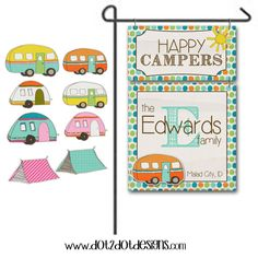 Monogram / Personalized / Custom Garden / Yard Metal Flag / Sign - Outdoor / Tent / Glamping / Happy Campers / Campsite / Camp Sign / Dots