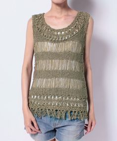 Hairpin Crochet Top. Hairpin crochet neckline and fringe hem. Broomstick crochet body, which may be knit drop stitch