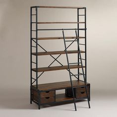 Gorgeous Bookshelf! A must to finish the living room in my eventual home! at WorldMarket.com: Metal Bookcase and Ladder