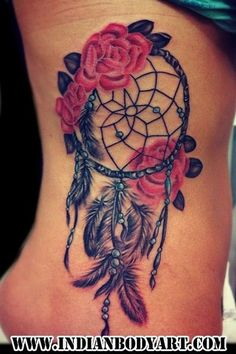 Splendid Rose Dreamcatcher Watercolor Tattoo on Rib.