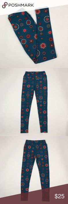 "[LulaRoe] Medallion Print Boho Leggings Graphic OS Buttery soft LulaRoe leggings. Pull on with wide waistband. Stretchy. Blue with various size and shapes on Medallion print. OS One Size.  🔹Waist: 12"" (lying flat across top) 🔹Rise: 10"" 🔹Inseam: 28"" 🔹Condition: Very good pre-owned condition. Worn once.  *CC41 LuLaRoe Pants Leggings"