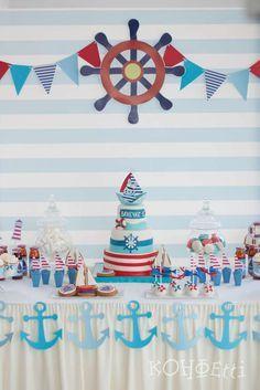 Birthday themes for boys, baby boy birthday, anchor birthday, nautical cake Sailor Birthday, Sailor Party, Sailor Theme, 1st Boy Birthday, Birthday Ideas, Birthday Table, Baby Shower Backdrop, Baby Boy Shower, Anchor Birthday Parties