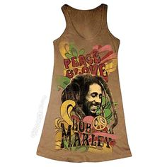 Bob Marley - Peace & Love Tank Top on Sale for $29.95 at HippieShop.com
