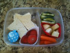 star sandwich, strawberries, cucumbers, pears and carrots