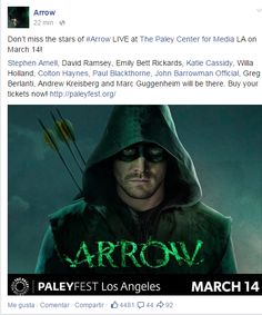 All the cast will be there!!! #Arrow PaleyFest LA.