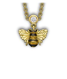 Theo Fennell - Yellow Gold  Diamond Bee Drop Necklace