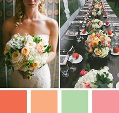 peach wedding color palette from the summer #myweddingmag - click to see more inspirational summer wedding themes!