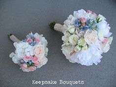 This is a large and small bouquet of all white hydrangeas with baby pink spray roses and touch of baby blue. This is just so pretty. We would describe this as a large sized bouquet. Flax Flowers, Small Bouquet, Spray Roses, Pink Roses, Bouquets, Wedding Flowers, Floral Wreath, Pretty, Baby