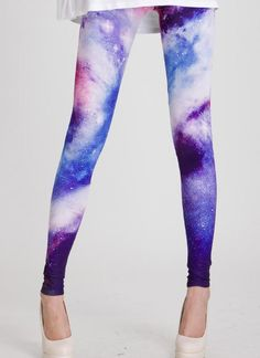 Multi Leggings/Tights - Blue Galaxy Print Leggings | UsTrendy
