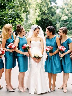 Dark Turquoise Bridesmaids Dresses   photography by http://sarahderphotography.com