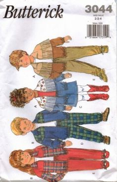 Butterick Pattern 3044 1992 Childrens Jacket Skirt and Pants size 2-3-4