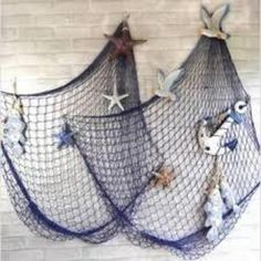 Mediterranean Sea Fish net Home wall Decor Art with Sea Shells Blue & White Color,Tigerfn
