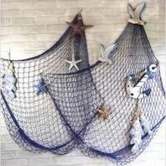 Mediterranean Sea Fish net Home wall Decor Art with Sea Shells Blue & White Color,Tigerfn