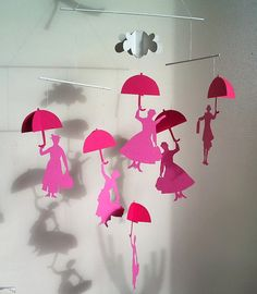 Cardboard Mary Poppins nursery mobile by verycute on Etsy, $14.95