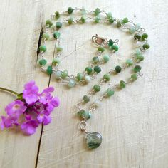 """18"""" Green Chrysoprase Beaded Necklace with Rutilated Moss Agate Pendant by 137point5"""