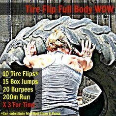 Tire Flip Full Body Workout - CrossFit inspired WOD -  TheFitFork.com