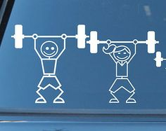 Crossfit Barbell Weightlifting Stick Figure Family Vinyl Decal. Bumper Sticker Customized