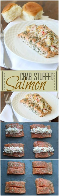 Crab-Stuffed Salmon - baked salmon with a crab, parmesan, and four cheese filling : ValentinasCorner Salmon Dishes, Fish Dishes, Crab Recipes, Salmon Recipes, Healthy Seafood Recipes, Baked Seafood Recipe, Recipes Dinner, Recipies, I Love Food