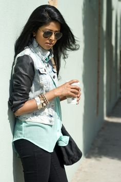 loveee the denim and leather look!!