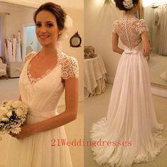 New design white long wedding dresses,lace wedding dresses,sweep train wedding gowns,v-neck elegant bridal gowns http://21weddingdresses.storenvy.com/products/15432201-new-design-white-long-wedding-dresses-lace-wedding-dresses-sweep-train-weddi #weddingdr