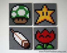 Super Mario Coasters set of 4 perler beads by PolishTheStars