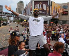 Cleveland Cavaliers Lebron James celebrates with the crowd during a parade to celebrate winning the 2016 NBA Championship in downtown Cleveland, Ohio, U. Cavs Basketball, Love And Basketball, Basketball Jones, Basketball Compression Pants, Cleveland Cavs, Downtown Cleveland, Cleveland Rocks, Nba Lebron James, Million Men