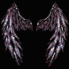 15x15 - Pembe Angel Wings - kanatları melek pembe, Materyal Transfer, Wings, Gotik