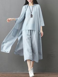 Casual Solid Blouse Cropped Pants Side Split Cardigan Three Pieces Suits Tesett Tesettür Tunik M Suit Fashion, Fashion Pants, Hijab Fashion, Fashion Outfits, Runway Fashion, Fashion Trends, Hijab Casual, Ao Dai, Simple Outfits