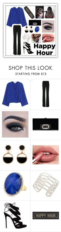 """""""happy hour"""" by xxrebeccaxx123 ❤ liked on Polyvore featuring Diane Von Furstenberg, Emilio Pucci, Too Faced Cosmetics, Warehouse, Kendra Scott, Giuseppe Zanotti and The Artwork Factory"""