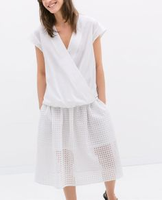 Image 1 of POPLIN COMBINED CROSSOVER TOP from Zara