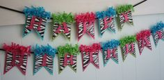 Zebra Birthday Banner Birthday Decoration by LittlePumpkinPapers
