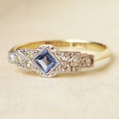 Image result for diamond and sapphire engagement rings