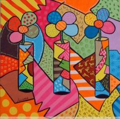 cubismo facil - Buscar con Google Easy Paintings For Beginners, Stick Art, Tangle Art, Arte Pop, Colorful Paintings, Mini Quilts, Summer Art, Painting For Kids, Doodle Art