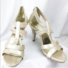 Style&Co Champagne Leather Strappy Sandel Heels 10 New no box - they have been tried on but not worn outside. Shoes by Style&Co. Size 10. There are a few indents on the inset of the shoe - no structure damage, inside is in tact. I ship same day or next 📦 📦 🚫🚫NO TRADES🚫🚫 Love to bundle - discount with bundle only 🎀🎀 Style & Co Shoes Heels