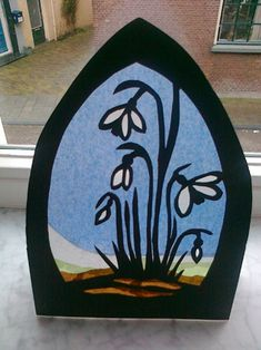 Snowdrop-transparency. With template #DIY #spring #waldorf