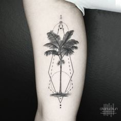 Geometric palm tree on the inner arm. Tattoo artist: Okan Uçkun