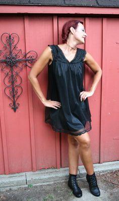 d822269dfed Vintage 1960s black babydoll lingerie chiffon nightgown sexy boudoir size  large