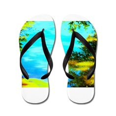 Shop Beautiful summer day Flip Flops designed by Pauli Hyvonen's Shop. Lots of different size and color combinations to choose from. Custom Flip Flops, Personalized Flip Flops, Rubber Flip Flops, Fresh Kicks, Cute Boots, Summer Days, Slip On, Purses, Promotion