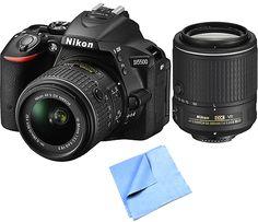 Nikon Refurbished D5500 24.2MP DSLR with 18-55mm & 55-200mm VR II Lenses Bundle
