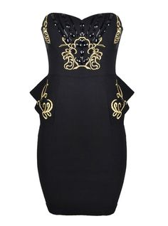 DRESS WITH BAROQUE TRIM AND BEADS