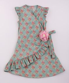 Love this Pink & Green Ruffle Wrap Dress - Toddler & Girls on #zulily! #zulilyfinds
