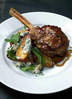Tyler Florence -- Veal Chops, Roasted Potatoes w/ Blue Cheese Dressing & Mint Food Recipe Share and enjoy! Veal Recipes, Lamb Recipes, Potato Recipes, Cooking Recipes, Tyler Florence Recipes, Veal Chop, Mint Recipes, Roasted Potatoes, Fabulous Foods