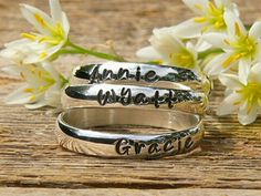 Stackable Rings Name Rings Personalized by namejewelrydesigns, $25.00 - I want these with my kids names!!