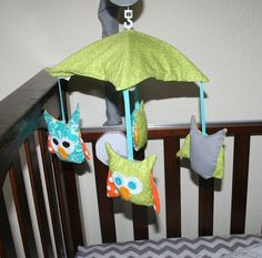 Creative Juices' home made owl mobile for baby nursery