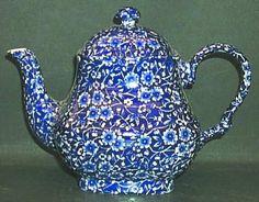 staffordshire calico blue crownford stamp tea pot lid