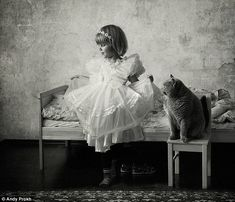 Katherine Prokh and Liu Blue Royal Lady (a grey British shorthair cat) have been posing for photos for Andy Prokh since Katherine was a baby.  According to Andy you should photograph what you love, and he loves his daughter and his cat very much!