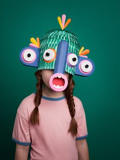 "Amusing paper masks by London-based art director Javier (a. Lobulo Studio) created for the ""Grec"" (Greek in Catalan) Festival of Barcelona. Paper Craft Work, Paper Art, Paper Crafts, Cut Paper, Diy With Kids, Art For Kids, Colossal Art, Masks Art, Mask Making"