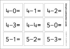 Simple subtraction flash cards - answers to 20 (SB5663) - SparkleBox