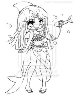 Shark Girl Lineart Commission by YamPuff deviantart.com